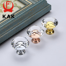 KAK 30mm Diamond Shape Crystal Glass Knobs and Handles Dresser Drawer Knobs Kitchen Cabinet Handles Furniture Handle Hardware|Cabinet Pulls