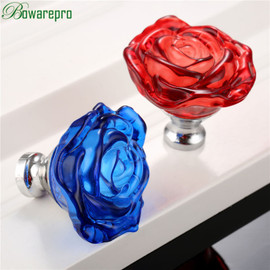 bowarepro 50MM Crystal Rose Glass Handle Cabinet Knob Drawer Pull Handle Kitchen Door Wardrobe Hardware Furniture Knobs Handles|Cabinet Pulls