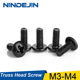 NINDEJIN 30/40Pcs M3 M4 TM Screws Phillips Truss Mushroom Head Screw Black Plated Electronic Carbon Steel Samll Screws|Screws
