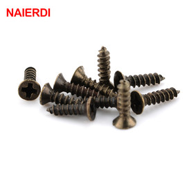 200PCS NAIERDI 2x6/8/10mm Screws Bronze Tone M2 Flat Round Head Fit Hinges Countersunk Self Tapping Screws Wood Hardware Tool|self-tapping screws|screw woodscrew screw