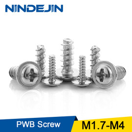 NINDEJIN 40 100pcs One Pack Screw PWB Round Head With Washer Self tapping Screw Zinc Plated PWB Screw M1.7 M2 M2.3 2.6 M3 M4|Screws
