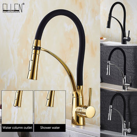 Pull Down Kitchen Faucet Gold Hot and Cold Water Crane Mixer Deck Mounted Kitchen Sink Faucets with Rubber Design ELK909G Kitchen Faucets