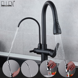 Deck Mounted Black Kitchen Faucets Pull Out Hot Cold Water Filter Tap for Kitchen Three Ways Sink Mixer Kitchen Faucet ELK9139B|Kitchen Faucets