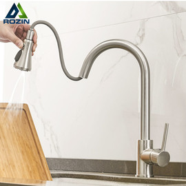 Rozin Brushed Nickel Kitchen Faucets Third Generation Pull Out Kitchen Mixer Facuet 3 Outlet Water Mode Spout Hot Cold Mixer Tap Kitchen Faucets