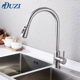Kitchen Faucet Pull Down Single Handle Spring Kitchen Mixer Sink Faucet Nickel Brushed Stainless Steel Hot & Cold Water Taps|Kitchen Faucets