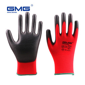 Hot Sale 6 Pairs GMG CE Certificated EN388 Red Polyester Black PU Work Safety Gloves Mechanic Working Gloves Safety Gloves