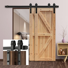 Gifsin Bypass Sliding Barn Door Hardware Track Bent Hanger Bypassing System 4 9.6FT|Doors