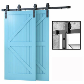 Gifsin Bypass Sliding Barn Door Hardware Track Bent Hanger Bypassing System 10FT 20FT|Doors