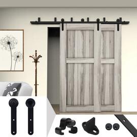Gifsin 5 20FT Sliding Barn Door Hardware Kit for Bypass Wooden Double Door Hardware in Round Shape|Doors
