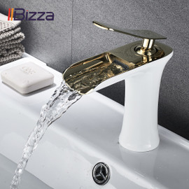 Basin Faucet Black Waterfall Bathroom Faucets Hot Cold Water Basin Mixer Tap Chrome Brass Toilet Sink Water Taps Crane Gold 1401|Basin Faucets