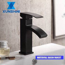 XUNSHINI Waterfall Basin Faucet Water Mixer Tap Bathroom Faucet Black Basin Water Sink Taps Bath Faucet Crane|Basin Faucets