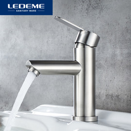 LEDEME Basin Faucet Stainless Steel Faucet Bathroom Mixer Tap Single Hole Hot and Cold Water Classic Basin Faucets L71003|Basin Faucets