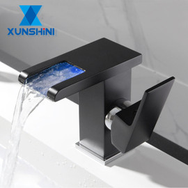 XUNSHINI LED RGB color change Waterfall Bathroom Basin Faucet Bathroom Mixer Tap Sink Faucet Single Handle Toilet Mixer Tap|Basin Faucets
