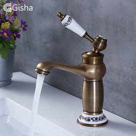 Gisha Bathroom Sink Basin Faucets Contemporary Antique Brass Faucet Mixer Water Tap Rotate Single Handle Hot And Cold Crane|Basin Faucets