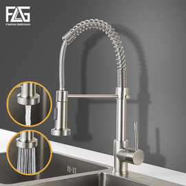 FLG Kitchen Faucets Brush Brass pull out kitchen faucet Sink Single Lever Pull Out spray Mixers Tap Hot Cold Water Crane 9009|designer kitchen faucets|kitchen faucetkitchen faucet design