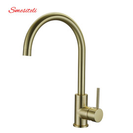 Smesiteli High Quality Brass Classic Gooseneck Single Lever 1 Hole Kitchen Sink Faucet Mixer Tap Brushed Gold Finish mixer tap kitchen sink faucetsink faucet kitchen