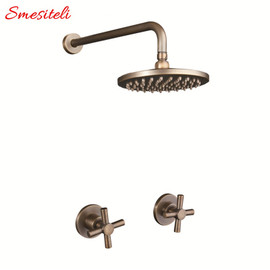 Antique 100% Brass Vintage Old 8 Inch Round Rainfall Shower Head + 400mm Wall Arm Set With Mixer Taps Concealed Bathroom Set|rainfall shower set|shower setshower set antique