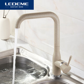 LEDEME New Kitchen Faucet Surface Finishing Brass Black Spray Paint Colorful Brass Main Material Kitchens Faucets Single Handle Kitchen Faucets