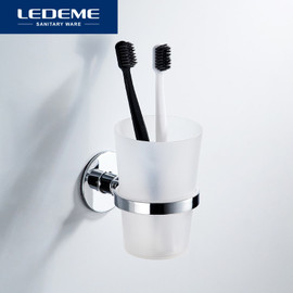 LEDEME Toothbrush Tooth Cup Holder With Glass Cup Wall Mounted Stainless Steel Bath Single Cup Rack Bathroom Accessories L5706|Cup & Tumbler Holders