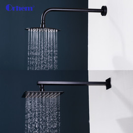 40 cm Stainless Steel Black Chrome Square In Wall Mounted Rain Shower Arm for Shower Head Shower Accessories|for shower|shower head stainlessstainless steel shower head