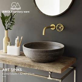 Bathroom Sinks Art Ceramic Vessel Imitation stone Washing Basin Bowl For Bathroom Or Balcony Restoring Ancient Ways Sink AM855|Bathroom Sinks