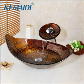 KEMAIDI Waterfall Faucet Tempered Glass Bathroom Sink Set Retro Style Glass Bowl Bathroom Sink Leaf Art Wash Basin With Drain|Bathroom Sinks