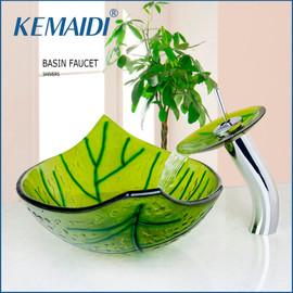 KEMAIDI Hand Painted Green Leaf Shape Bathroom Wash Basin Sink With Mixer Pop Up Drain Sink Set Bathroom Vessel Faucets&Tap|basin sink|bathroom wash basinwash basin