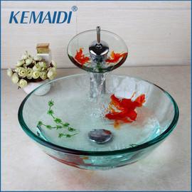 KEMAIDI Modern Bathroom Glass Golden Fish Painted Vessel Sink Faucet & Pop up Drain Combo Sink Set Bathroom Sink Accessaries|painted vessel sinks|bathroom sinkvessel sink