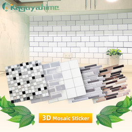 3D Kitchen Wallpaper Marble Mosaic Peel and Self adhesive Wall Stickers Waterproof for Bathroom Home Wall Decal Sticker Vinyl|Wallpapers