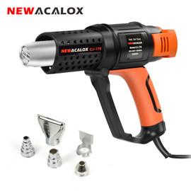 NEWACALOX 2000W EU 220V Thermostat Heat Gun with 5pc Nozzles Household Hot Air Gun Hair Dryer for Soldering/ Car Foil Heat Tool|Heat Guns