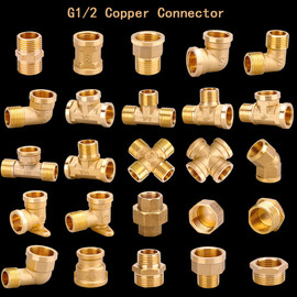"1/2"" 3/4"" BSP Female Male Thread Tee Type Reducing Copper Elbow Butt joint Adapter Adapter Coupler Water Pipe Plumbing Fittings