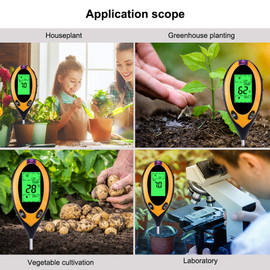 4 In 1 Digital PH Meter Soil Moisture Monitor Temperature Sunlight Tester For Gardening Plants Farming With Black Light|PH Meters