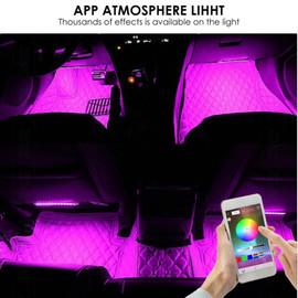 Car LED Strip Lights, Aukora Bluetooth App Controller Interior Lights For Car 48 LEDs Multi Color Music Car Strip Light|LED Strips