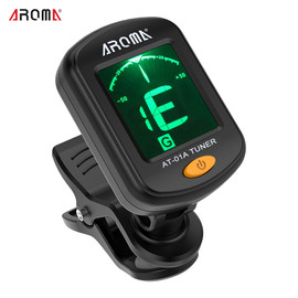 AROMA Digital Guitar Tuner Mini Clip on 360 Rotating LCD High Sensitivity Tuning for Bass Ukulele Guitar Accessories AT 101|Guitar Parts & Accessories