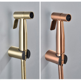 Handheld Bidet Spray Shower Set Toilet Sprayer Douche kit Bidet Faucet,Brushed Nickel,Rose gold Brushed gol 304 Stainless Steel|Bidets