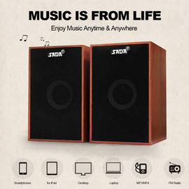 SADA V 160 USB Wired Speakers Computer Wood Subwoofer Speakers with 3.5mm Stereo for PC Desktop Laptop Notebook Music Player|Computer Speakers