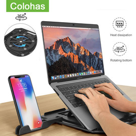 Height Adjustment Laptop Stand For Macbook Pro Notebook Support 360 Degree Rotating Bottom Computer Stand Riser Cooling Pad|Laptop Stand