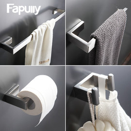 Fapully 304 Stainless Steel 4pcs/Kit Brushed Wall Mount Towel Bar Cloth Hook Paper Holder Bathroom Accessories Sets Hardware|Bath Hardware Sets