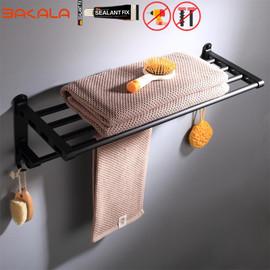 Black Bathroom Accessories Paper towel rack Blower frame Single pole Double rod Towel rack Soap dish Towel ring Clothes hook|Bath Hardware Sets