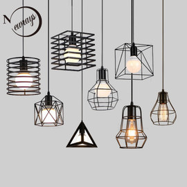Retro loft industrial iron hanging lights E27 110V 220V LED black pendant lamps for kitchen living room bedroom aisle restaurant|Pendant Lights