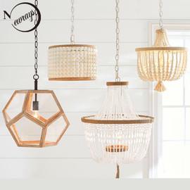 Modern minimalist round wooden beads E27 led pendant lamp children bedroom crystal pendant light living room hotel kitchen lamps|Pendant Lights