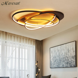 New Arrival Modern Led Ceiling Chandelier Coffee & White Color LED Chandelier For Living Study Room Bedroom Aluminum Body|Chandeliers