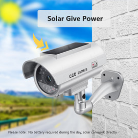 Solar Power Dummy Camera Security Waterproof Fake Camera Outdoor Indoor Bullet LED Light Monitor CCTV Surveillance Camera|Surveillance Cameras