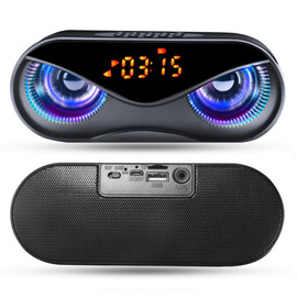 Bluetooth Speaker Cool Owl Design LED Flash Portable Wireless Loudspeaker TF Card FM Radio Alarm Clock TV Bass Smart Display M6|Subwoofer