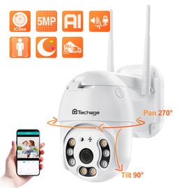 Techage 5MP HD WiFi IP Camera Outdoor Waterproof PTZ Camera AI Human Detection Security Camera Color Night Surveillance Camera|Surveillance Cameras|