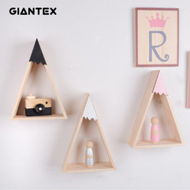GIANTEX 2pcs/set Home Decor Nordic Style For Baby Room decor Wall Shelf Wood Snow Mountain Shelf Floating Shelf For Kids Room|Decorative Shelves|