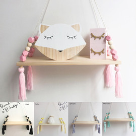 1 Pcs Wall Hanging Decor Swing Shelf Decorative Shelves Room Storage Organization personality Kids Room Wooden Beads Tassel|Decorative Shelves|