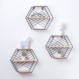 Wall Mounted Floating Shelf Modern Simple Geometry Wood Metal Wire Hexagon Plant Flower Storage Shelves Display Perfect Decor|Decorative Shelves|