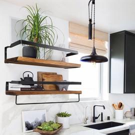 Wall Shelf Decorative Metal Wooden Rustic Floating Storage for Kitchen Bathroom Towel Frame Multifunction Storage Holder|Decorative Shelves|