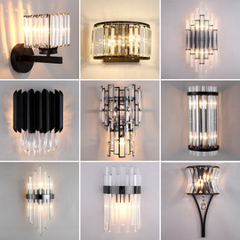 JMZM Modern Black Crystal Wall Light LED Bathroom Lamp Bedside Wall Sconce Lamp For Bedroom Living Room Nordic Light Fixtures|LED Indoor Wall Lamps|